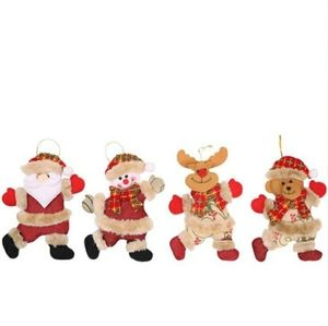 Hand Crafted Fabric Christmas Ornaments 4-pieces